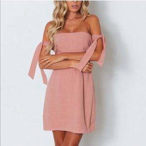 White Fox Boutique Dresses - White Fox Boutique Off Shoulder Mini Dress Pink